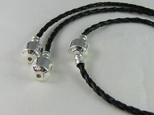 21cm BLACK 925 STAMPED BRAIDED LEATHER CHAIN FOR EUROPEAN STYLE CHARM BRACELETS