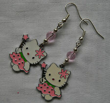 Handmade silver plated Hello Kitty earrings enamel pink crystals free stoppers