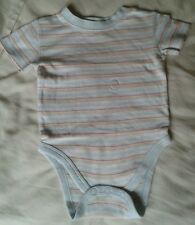 BABY BOYS BLUE STRIPED VEST TOP AGE 6-9 MONTHS MOTHERCARE