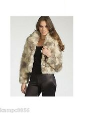 New Lipsy Cream Fluffy Faux Fur Cropped Jacket/Coat Sz UK 8 rrp £75