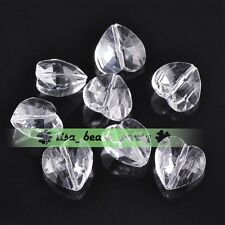 10pcs 14x9mm Faceted Heart Crystal Glass Charms Loose Spacer Beads Clear