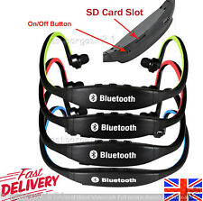 NEW WIRELESS STEREO BLUETOOTH HEADSET HEADPHONES EARPHONE SPORTS GYM CARD SLOT