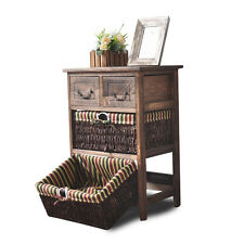 Wooden Frame Wicker basket Drawer Storage Unit Bed bathroom Organizer G140-3