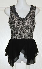 Womens size 6 black lace peplum style top made by KETCHUP