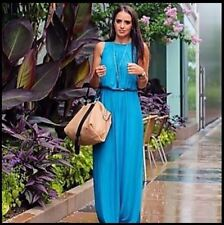ZARA LONG BLUE AQUA CREPE BOHO HIPPY MAXI DRESS  SIZE UK 8 S 36