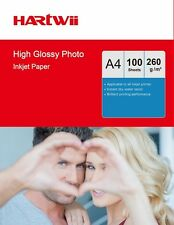Hartwii 100 Sheets A4 260 Gsm High Glossy Photo Paper Inkjet Paper 210x297mm AU