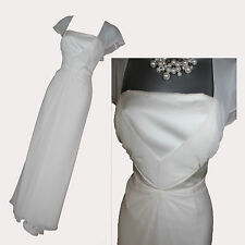 *MONSOON*Ivory Silk Square Neck Elegant Simple Bridal Wedding Maxi Dress sz-12