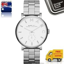 NEW MARC BY MARC JACOBS UNISEX WATCH BAKER SILVER TONE STAINLESS STEEL MBM3242