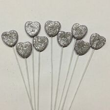 Edible Love Hearts With SiLver Glitter On Wire  Wedding,Cake Toppers x 6