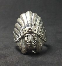 Silver Chief Head Indian Native American Feather Hat Statement Jewelry Ring Sz 8