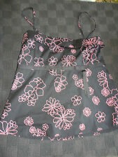 """Black & Pink Floral Cotton Sleeveless Top by H&M Size 12 - 14 - Chest 38"""" - 40"""""""