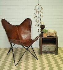 Butterfly Chair Seat Statement Vintage Aged Leather Retro Metal Industrial Cafe