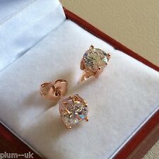 Y14 Plum UK 6.5mm round white sapphire 14k ROSE GOLD gf stud earrings gift boxed