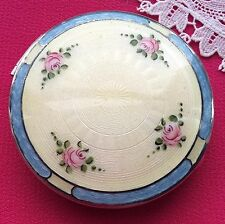 Antique STERLING Signed GUILLOCHE Hand Painted Vng Compact Roses BEAU MONDE EVC!