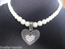 Trachtenschmuck Perlenkette mit Strass Herz