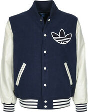 ADIDAS NIGO VARSITY COLLEGE LEATHER WOOL JACKET Size S dmc kazuki M69183 slvr y3