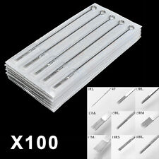 100 x Pro Steriled Mixed Tattoo Steel Needles Round Liner/Shader/Magnum RL/RS