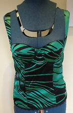 GUESS ~ Authentic Green Black Zebra Stripe Boned Bustier Padded Bust Top ~ Large