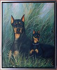 Dobermann mit Junghund, Ölgemälde auf Leinwand, 60 x 50 cm, signiert Gordon