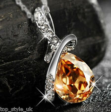 Gold Topaz Tear Drop Diamond Crystal Necklace Pendant Gift Present for  her Girl