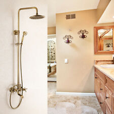 Antique Brass Exposed Rainfall Shower Faucet Tub Mixer Tap 8-inch Shower Head