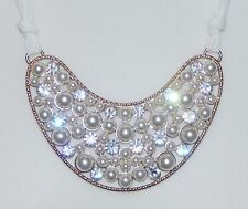 New Look Cream Pearl & Clear Crystal Bib Necklace With Cream Fabric Tie - NEW