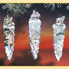 Majestic Wolves Ornaments issue 2 - set of two Wolf Bradford Exchange