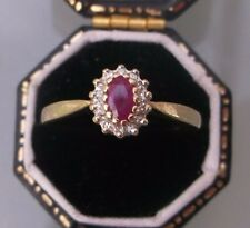 Women's 9ct Gold Ruby & Diamond Ring Vintage Ring Stamped W 2g Ring Size M 1/2