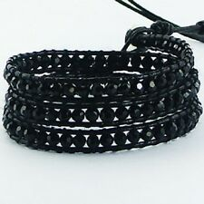 Wrap Bracelet on Black Leather Faceted Black Agate Gemstones beads Triple Row