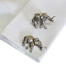 Silver Elephant Pewter Cufflinks English Hand Made Safari Animal New