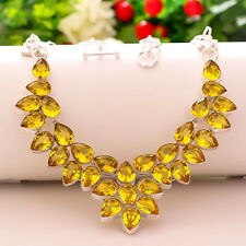 YELLOW CITRINE 925 STERLING SILVER JEWELRY NECKLACE 18""