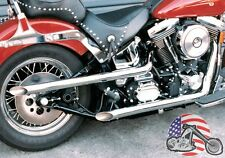 "USA 2"" Cycle Shack Chrome Drag Pipes High Low Shotgun Exhaust Set Harley Softail"