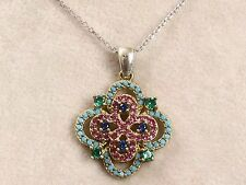 HANDMADE EMERALD,RUBY,SAPPHIRE & TURQUOISE 925 STERLING SILVER NECKLACE N-608