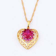 statement womens 14k gold filled ruby heart pendant gold chain long necklace