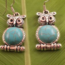 pewter owl and turquoise silver earrings