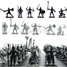 60pcs Set Black Silver Medieval Knights Warriors Kids Toy Soldiers Figure Models