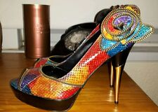 WOMENS  DUNE PLATFORM GOLD MULTICOLOURED SNAKE STYLE LEATHER ZIP HIGH HEEL SHOES