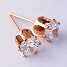 safety small cubic zirconia Rose Gold Filled womens Round stud earrings 1pair