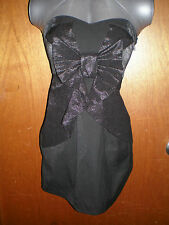 BNWOT Valleygirl size 8 black bow strapless cotton/poly dress in EC