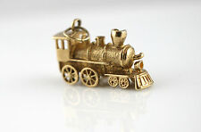 1967 Vintage Heavy 9ct Yellow Moving Steam Train Charm / Pendant
