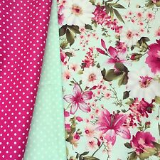 PRETTY PINK MINT GREEN ROSE LILY FLORAL FABRIC 100% COTTON X HALF METRE