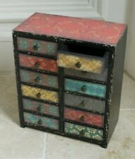 Set Of 2 Vintage Industrial Moroccan Cabinet 12 Drawers Storage Chest Colour
