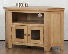 Chunky Solid Oak 2 Door GLAZED CORNER Harrogate Natural TV Cabinet Stand / Unit