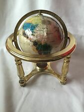 WORLD GLOBE MOTHER OF PEARL WITH INLAID GEMSTONES IN BRASS STAND WITH COMPASS