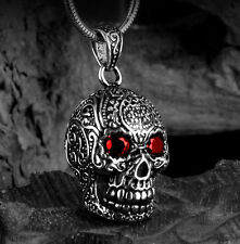 NEW Titanium Steel Carving Pattern Skull pendant necklace with black rope chain