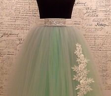 Silver stretch embellished belt mirror pearl beaded S.M.LG.XLG Tulle Waist