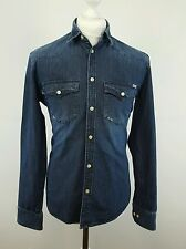 Men's Jack & Jones Dark Wash Blue Denim Long Sleeve Shirt  Size S