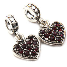 10x Purple Rhinestone Paved Vintage Silver Heart Jewellery Loop Beads Pendant BS