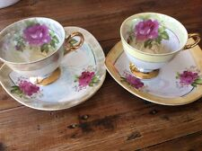 2 X Japan Cup Saucer Set  Plate Roses Designs Gold Trim Used tea coffee Cups Duo