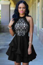 NEW BLACK NUDE LACE RUFFLE PUFF BALL SKATER PARTY DRESS TOP 8 10 12 14 16 18 20